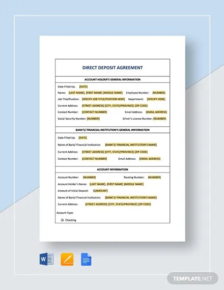 Direct Deposit Agreement Template Download 135+ Templates in