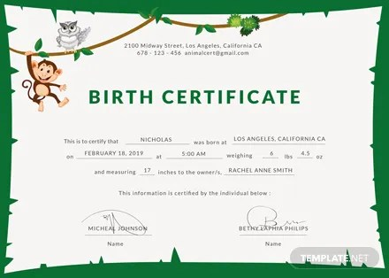 Free Animal Birth Certificate Template Download 200+ Certificates