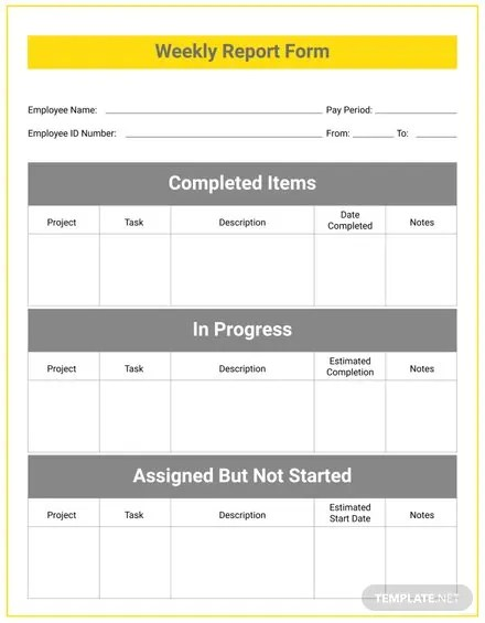 Employee Weekly Report Template Free Templates - employee weekly report