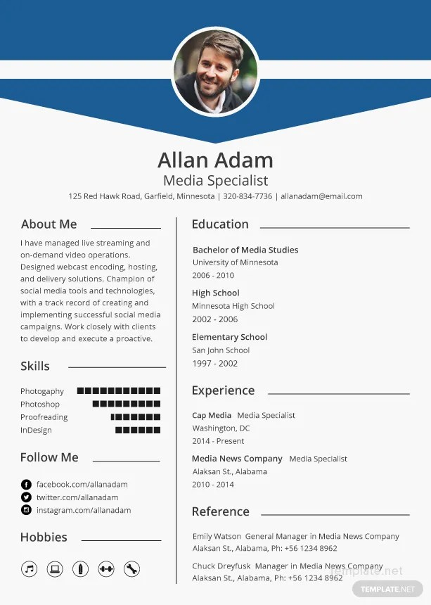 Free Media Resume and CV Template in Microsoft Word, Microsoft - adobe resume template