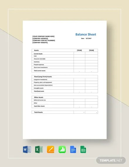 Balance Sheet Template Download 16+ Templates in Microsoft Word