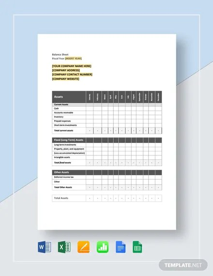Monthly Balance Sheet Template Download 16+ Templates in Microsoft