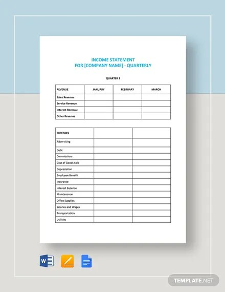 Quarterly Income Statement Template Download 16+ Templates in