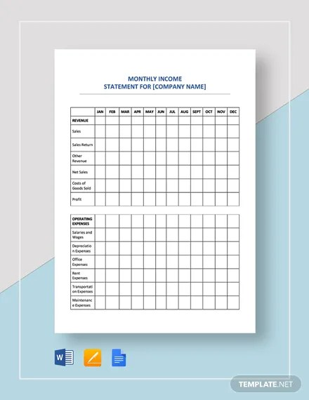 Income Statement Monthly Template Download 16+ Templates in