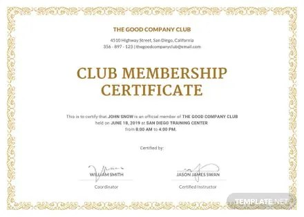 Free Club Membership Certificate Template in Adobe Photoshop - membership certificate template