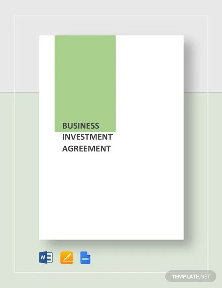 Business Investment Agreement Template Download 210+ Agreements in