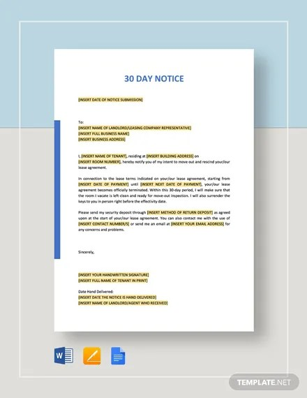 30 Day Notice Template Download 12+ Templates in Microsoft Word