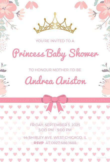 Free Princess Baby Shower Invitation Template Free Templates - baby shower invitation templates