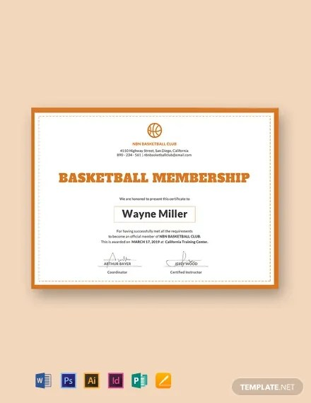 FREE Basketball Membership Certificate Template Download 435+