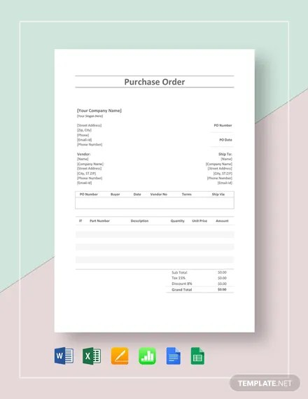 Simple Purchase Order Template Download 1713+ Order Templates in