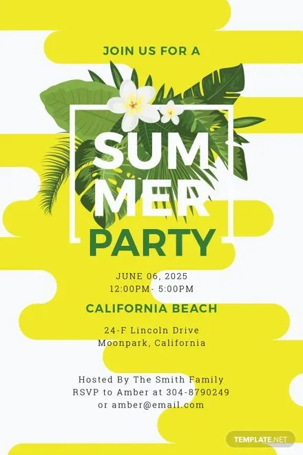 Free Summer Party Invitation Template Free Templates