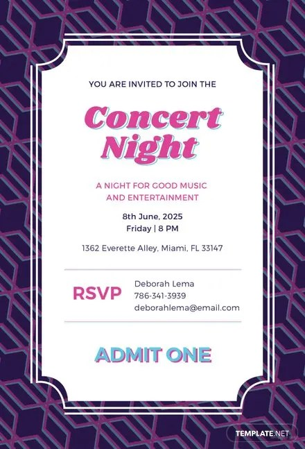 Free Concert Ticket Invitation Template Free Templates - concert ticket invitations