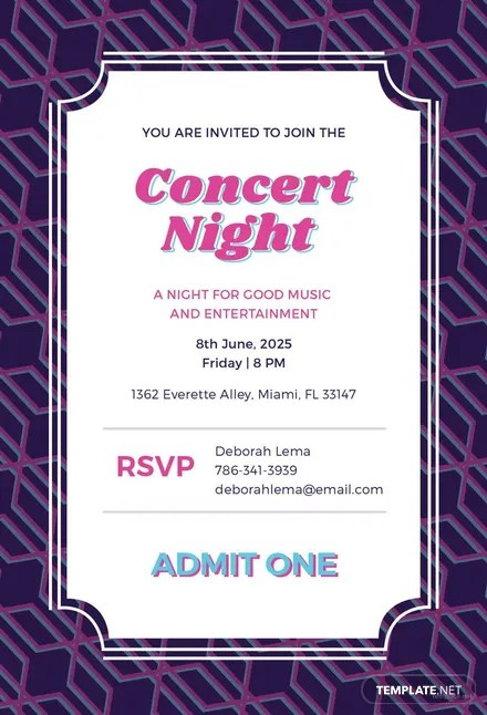 Free Concert Ticket Invitation Template Download 344+ Invitations