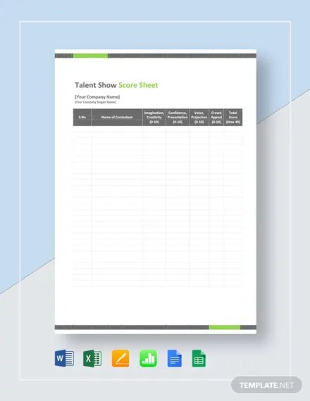 Talent Show Score Sheet Template Download 144+ Sheets in Microsoft