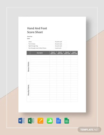 Hand and Foot Score Sheet Template Download 133+ Sheets in