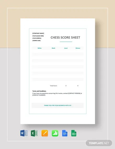 Chess Score Sheet Template Download 139+ Sheets in Microsoft Word