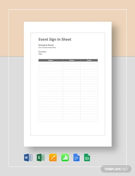 FREE Event Sign Sheet Template Download 524+ Sheets in Word, PDF