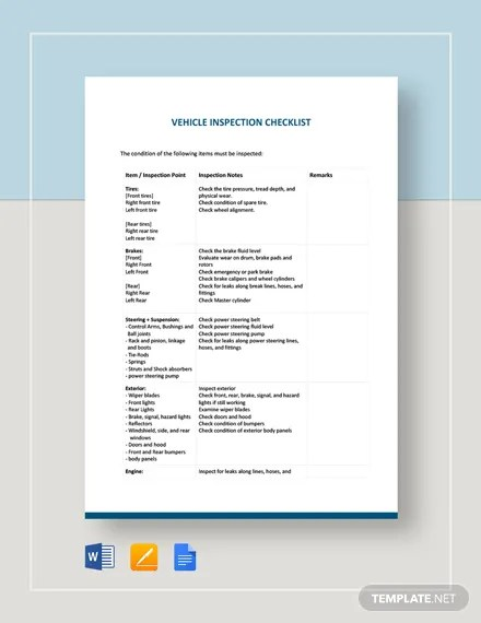 Vehicle Inspection Checklist Template Download 100+ Checklists in