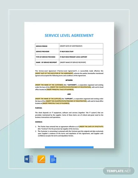 Service Level Agreement Template Download 74+ Internet  Technology