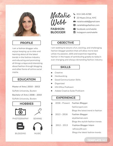 FREE Best Fashion CV Template Download 160+ Resume Templates in PSD