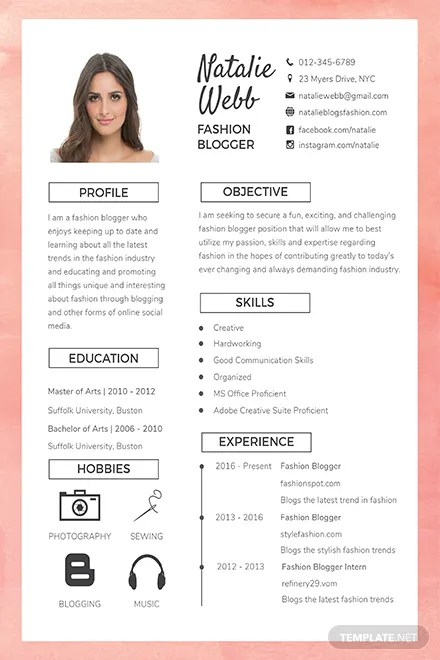 Free Best Fashion CV Template Download 160+ Resumes in PSD, Word