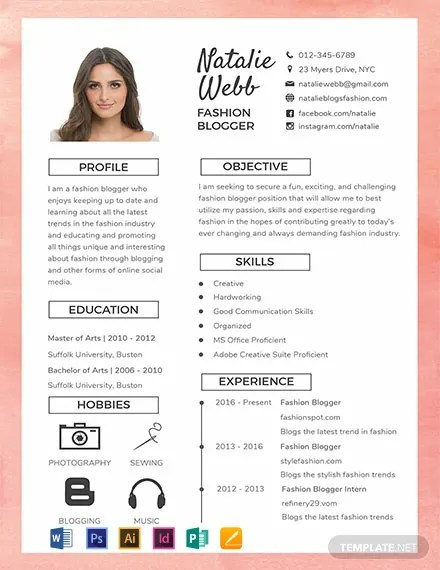 FREE Best Fashion CV Template Download 316+ Resume Templates in PSD