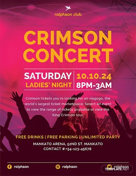 FREE Crimson Concert Flyer Template Download 416+ Flyers in PSD