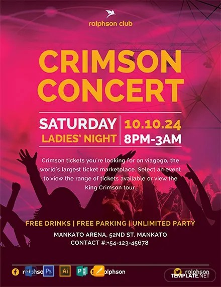 FREE Crimson Concert Flyer Template Download 812+ Flyers in PSD