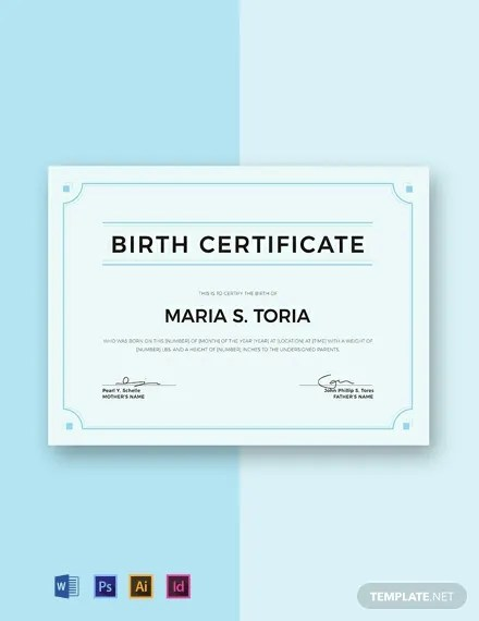 Free Blank Birth Certificate Template Download 435+ Certificates in