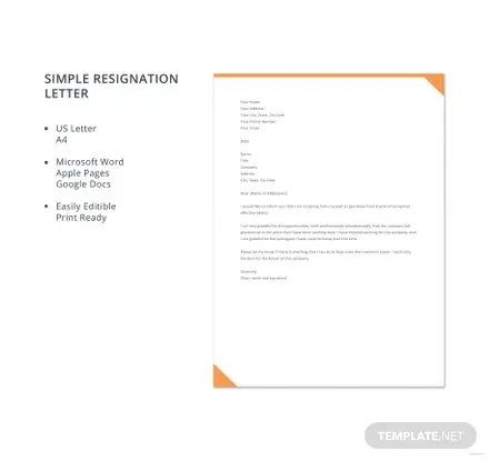Free Simple Resignation Letter Template in Microsoft Word, Apple - simple resignation letter template