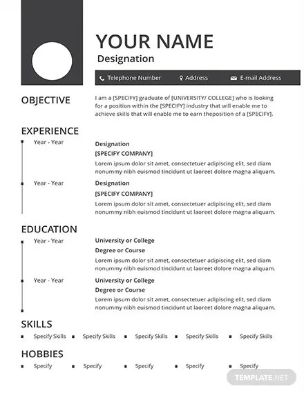 FREE Blank Resume and CV Template Download 160+ Resume Templates in