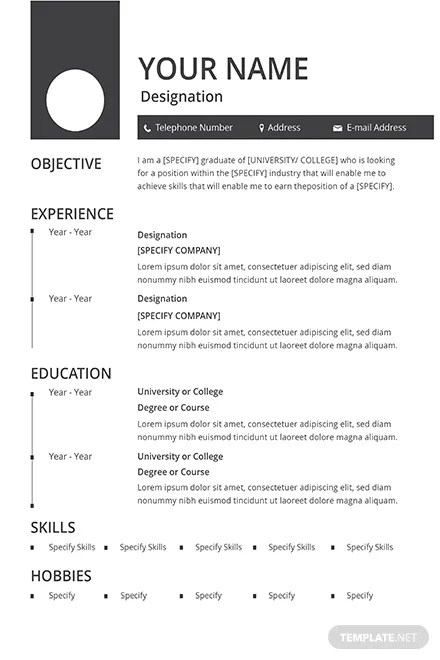 Free Blank Resume and CV Template in Adobe Photoshop, Microsoft Word