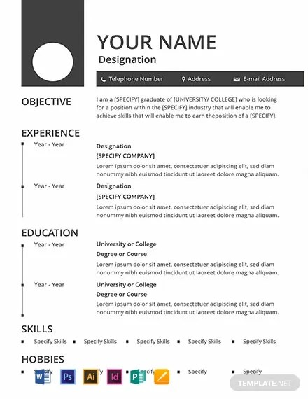 Sample Resume With Picture Template Free Blank Resume Template - Word (doc) | Psd | Indesign