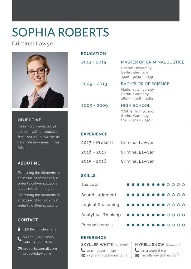 Free Criminal Lawyer Resume Template in Adobe Photoshop, Illustrator - adobe resume template