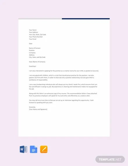 FREE Creative Nanny Resume Cover Letter Template Download 2191+