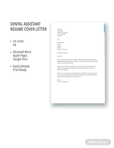 cover letter dental assistant job