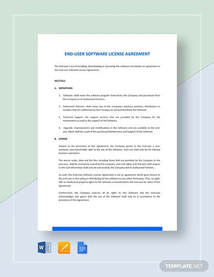 Trial Software License Agreement Template Download 74+ Internet