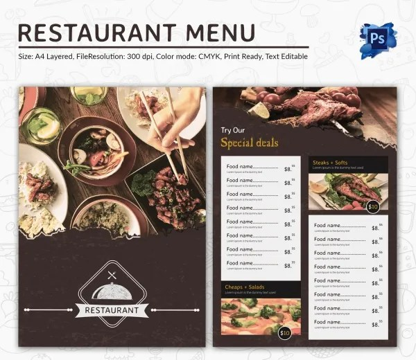 Top Result 60 New Restaurant Menu Psd Template Free Picture 2017 - free food menu template