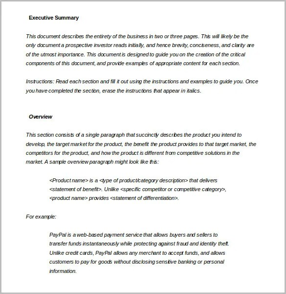 sample executive summary template - Doritmercatodos - business summary template