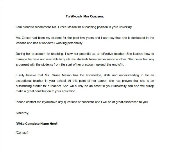 letter of reference or recommendation - Boatjeremyeaton - business reference letter template
