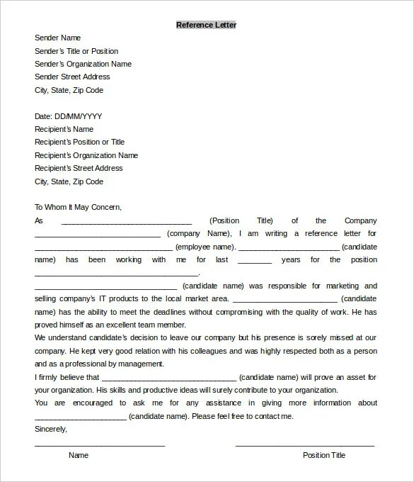 word reference letter template - Boatjeremyeaton - microsoft word reference letter template