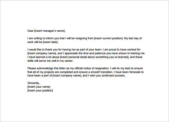 resignation letter template pdf - Holaklonec