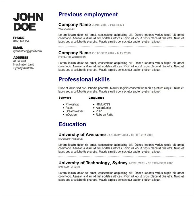 Resume Design Template PSD \u2013 11+ Free Samples, Examples, Format