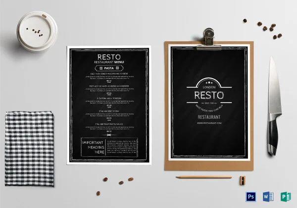 free download menu template