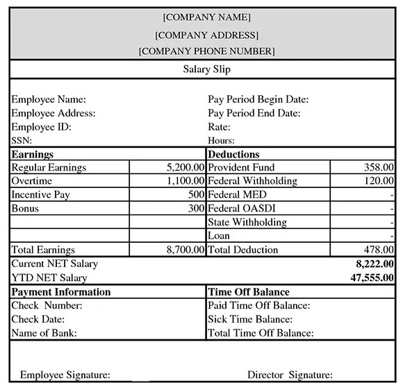 driver salary slip format download - Intoanysearch - download salary slip