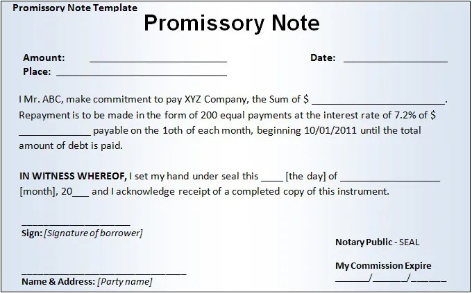 16+ Promissory Note Template Free  Premium Templates - free sample promissory note