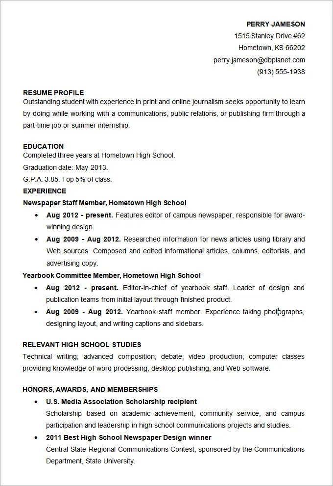 High School Student Resume Template Resume Format For Students In - best high school resume