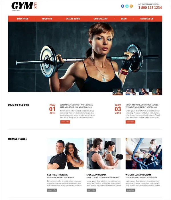28+ Gym  Fitness Website Themes  Templates Free  Premium Templates - Fitness Templates Free