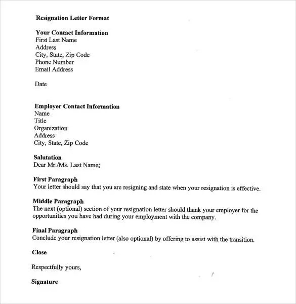 37+ Simple Resignation Letter Templates - PDF, DOC Free  Premium