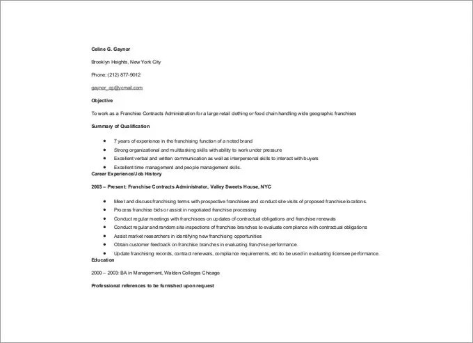 Administration Resume Template \u2013 24+ Free Samples, Examples, Format - contract administration sample resume